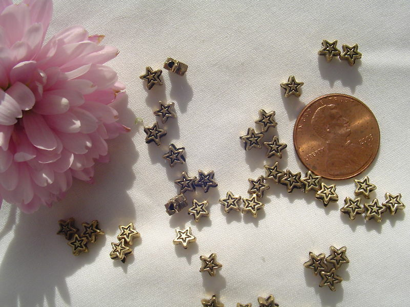 5mm Antique Gold Metalized Plastic Flower Spacer Bead 50pcs