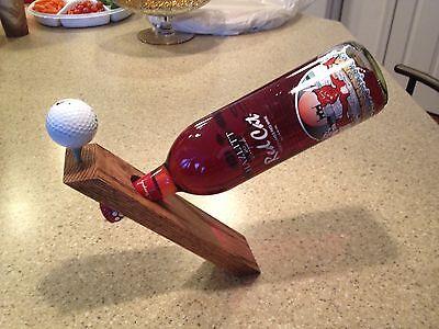 Wood / Wooden Balancing Wine Bottle Holder Centerpiece - Solid Oak - Golf - Golf Themed Centerpieces