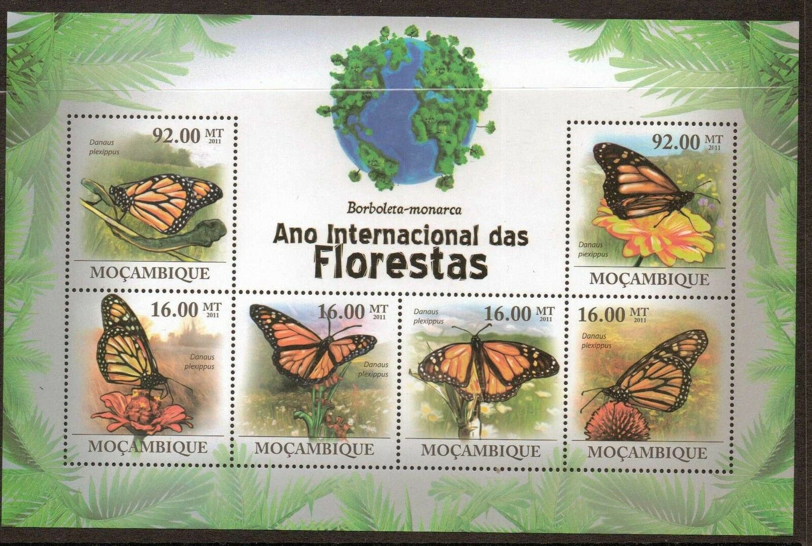 MOZAMBIQUE 2011 BUTTERFLIES SHEETLET MNH