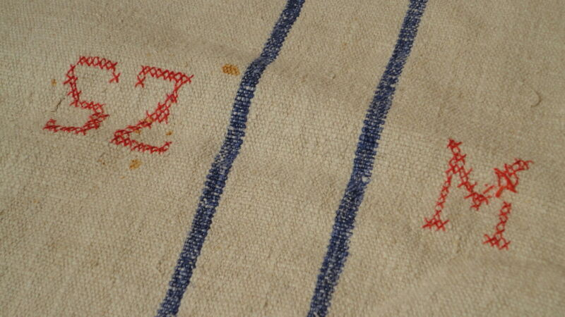 Antique European Feed Sack GRAIN SACK SZM Monogram  # 3038