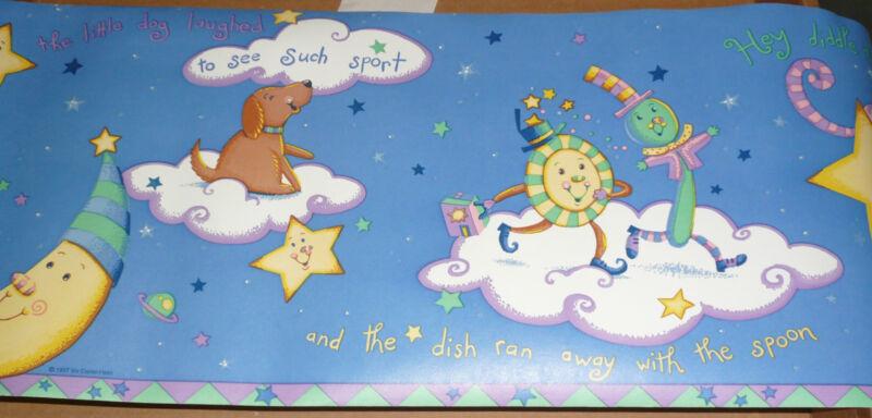 WALLPAPER BORDER wall dog dish spoon nursery rhyme blue Kidsline Over the Moon