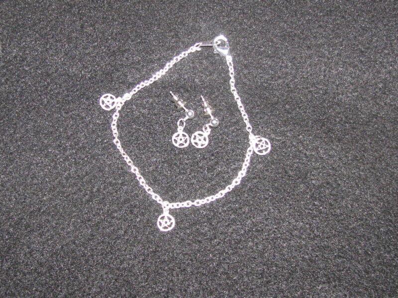Pewter Pentacle Charm Post Earrings and Bracelet Set