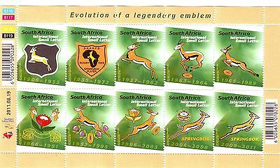 South Africa RSA 2011 Rugby World Cup Springbok emblem Stamp Sheet NHM UMM