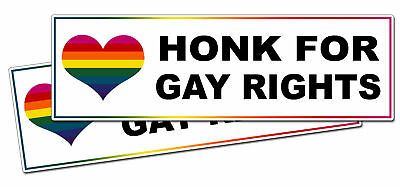 Funny Honk For Gay Right Bumper Sticker Prank Gag Gift