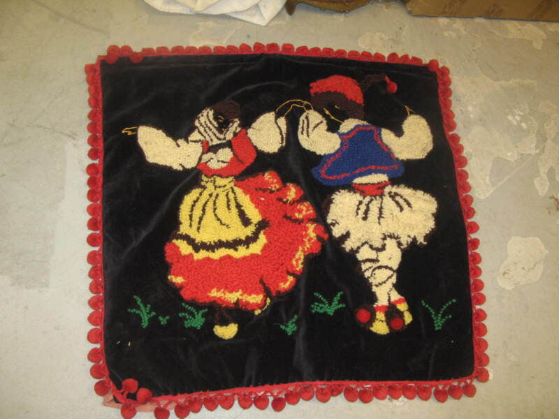 """Vintage Folk Art Hooked Punch Embroidery Tapestry with Backing 36"""" x 36""""  Ethnic"""