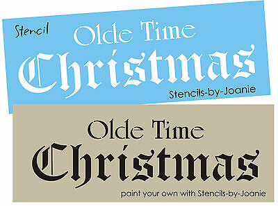 Joanie Stencil Old Time Christmas English Calligraphy Country Prim Holiday - Calligraphy Stencil