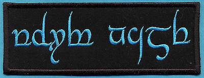 """Custom Embroidered  LOTR Lord of the Rings Tengwar Name Tag Patch -  """"YOUR NAME"""""""