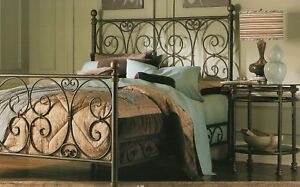 Local PICK UP Deep Pewter Finish Complete Iron Scrolled CALI King Sz Bed H/F/R