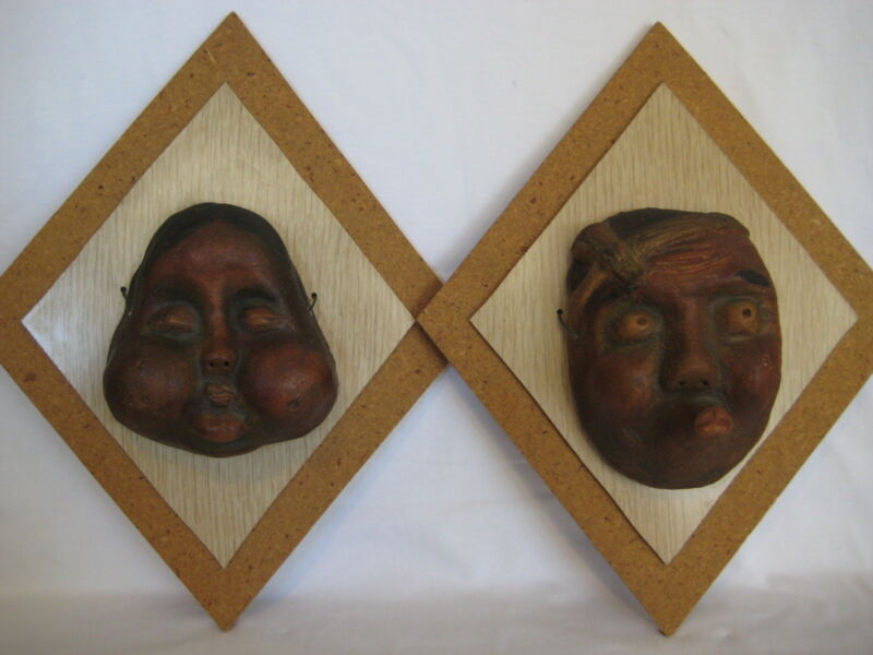 1960 OLD VINTAGE SET OF 2 ART POTTERY JAPANESE DECORATIVE MASKS BY ROY HATANAKA