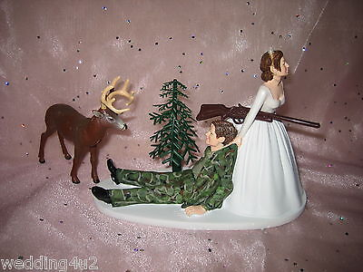 Wedding Reception Party Deer Camo Hunter Hunting Cake Topper Redneck Dark Hair