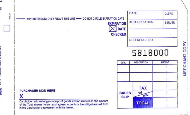 100 SHORT 2 PART Credit Card Manual Imprinter Sales Slip Paper Draft Forms
