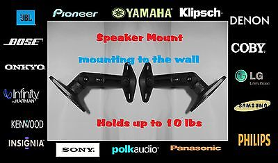 - 2 Pack New Full Motion Black Ceiling & Wall Mounts Speaker Brackets - Max 10 lbs