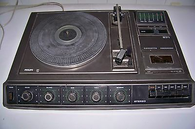 ANTIGUO TOCADISCOS CASSETTE PHILIPS STEREO MODELO AF 571