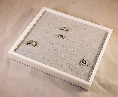 36 Ring Display Case White With Gray Velvet Insert