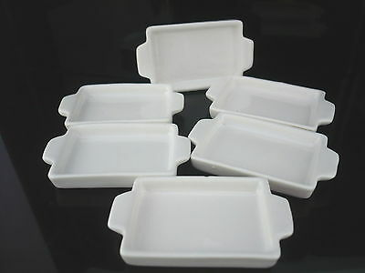 25x35 mm. Set of 6 White Baking Pan/Tray Dollhouse Miniatures Supply Deco