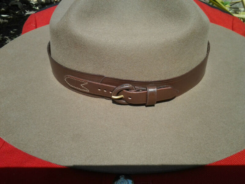 Leather RCMP Style Hatband for Stetson Hat - Size 24