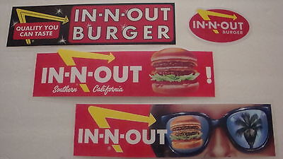 IN-N-OUT BURGERS, 4-DISCONTINUED VINTAGE BUMPER STICKERS (OUT OF PRINT) LOT OF 4