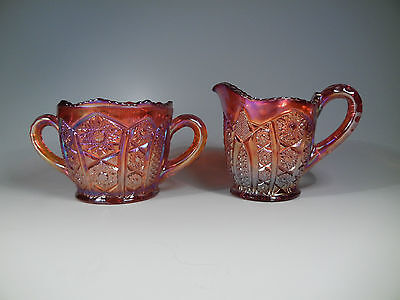 Indiana Carnival Glass Red Heirloom Cream and Sugar Bowl set