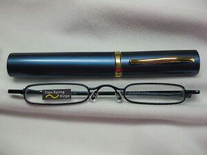 STEEL BLUE ULTRA SLIM & TRIM Reading Glasses Tube Case Flex Temples +2.00