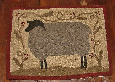 "PRIMITIVE RUG HOOKING KIT ON MONKS ~ ""FARM FRIENDS SHEEP"""
