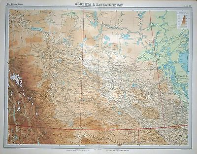 1920 LARGE MAP ~ ALBERTA & SASKATCHEWAN ~ 23