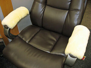 Medical Ivory Merino Sheepskin Armrest Covers Pad Scooter Office WheelChair Arms