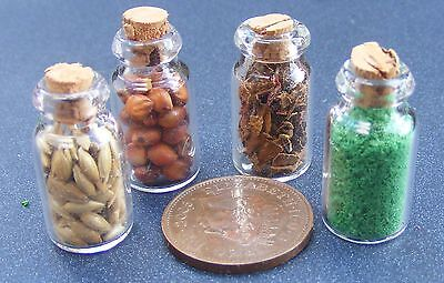 1:12 Scale 4 Full Glass Spice Jars Dolls House Miniature Kitchen Accessory G243