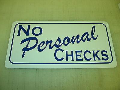 NO PERSONAL CHECKS Metal Sign 4 Boardwalk Carnival Renaissance Fair Store Golf