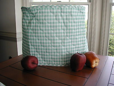 Sage Green Gingham 6 Qt. Crockpot Appliance Cover Round, Cotton Blend, no brand