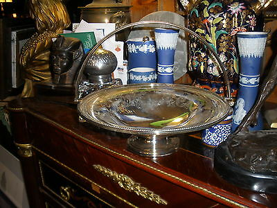 Stunning Silverplate Wedding or Fruit basket:Top quality-beaded handle;maker unk
