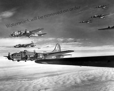 - Photograph WWII B-17G Flying Fortress Bomber Formation Europe Year 1943c 11x14