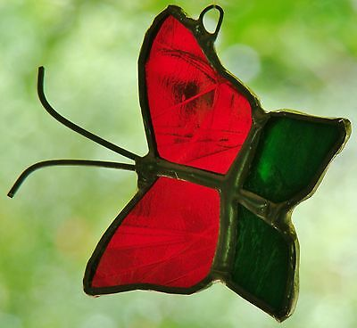 10X MULTI COLOURED BUTTERFLIES stained glass suncatcher CHEAPER TO BUY IN BULK ()