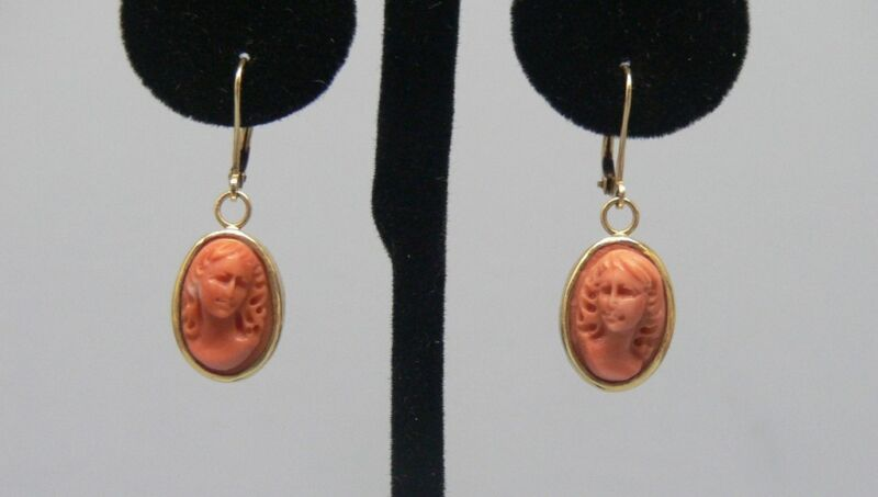 Beautiful 14k Gold Pink Coral Cameo Earrings
