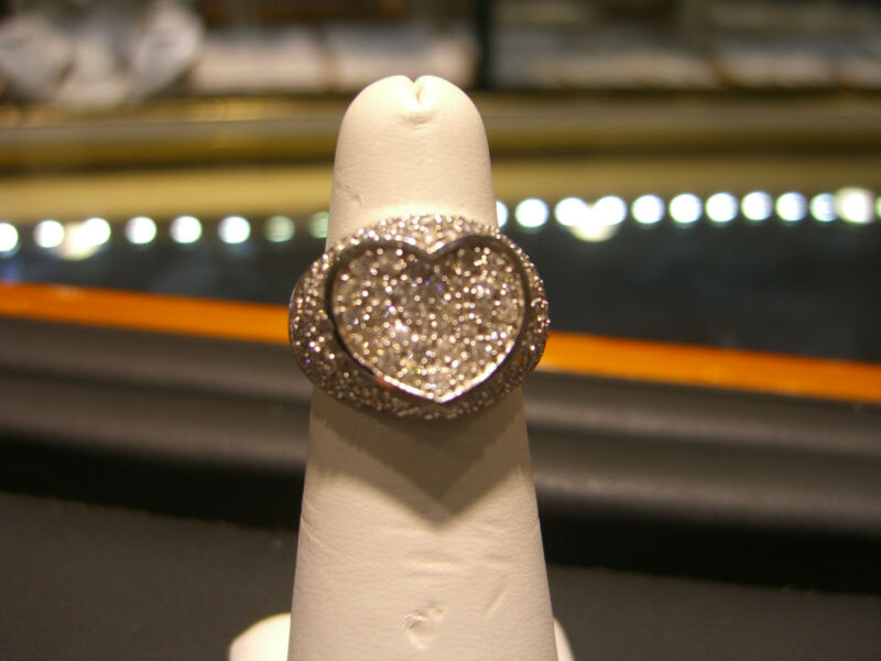 Womens Fine 14 Karat White Gold Heart Diamond Ring 1.75 Carat Diamond New Wow!!!
