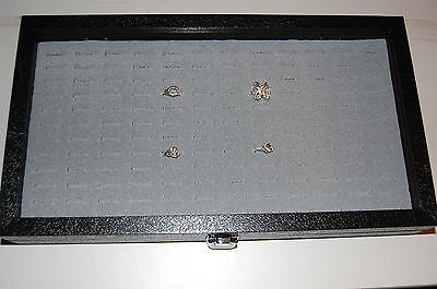Glass Top 72 Slot Ring Gray Jewelry Display Showcase W Metal Hinge Latch