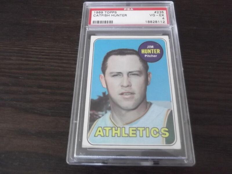 1969 Topps Catfish Hunter #235  Baseball Card PSA VG EX 4 Athletics