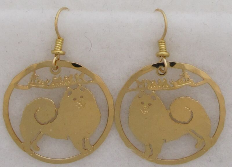 Samoyed Jewelry Gold Dangle Earrings by Touchstone