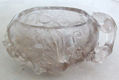 """Chinese Hand Carved Rock Crystal Brush Washer w/ CHILONG Baby Dragon  (4.5"""")"""