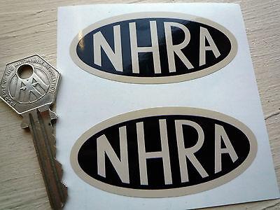 NHRA Black & Beige oval car stickers 3inch Vintage Retro Hot Rod Custom Car