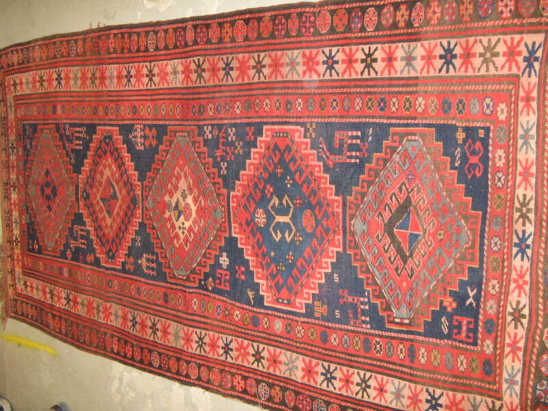 Antique Kazak Russian Hand Knotted Wool Rug 4