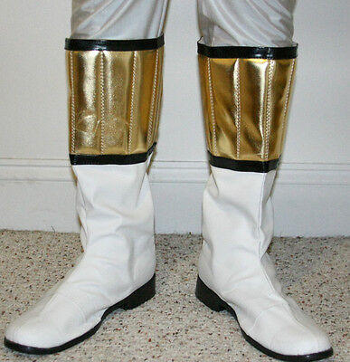 Power Man Super Hero Ranger style Boots - White & Gold color - Custom Made