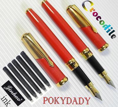 2pcs Crocodile F101 Fountain Pen RED+ 10 pcs JINHAO cartridges BLACK ink