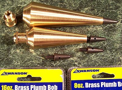 Set of 2 SOLID BRASS PLUMB BOBS 16 oz & 8 oz by Swanson new bob level
