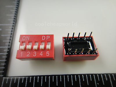 50pcs 5p 5 Position Dip Switch 2.54mm Pitch 2 Row 10 Pin Dip Switch