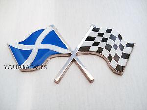 Enamel Chrome SCOTLAND FLAG & chequered flag crossing Car Badge Scottish