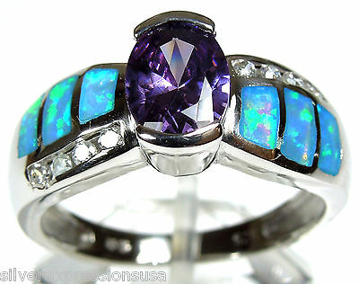 Amethyst & Blue Fire Opal Inlay 925 Sterling Silver Solitaire Ring size (Blue Opal Inlays Amethyst Ring)