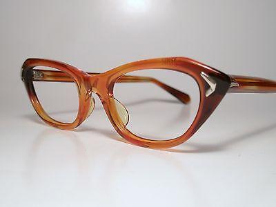 NOS True Vintage CAT-EYE Sun/ Eyeglasses Frame MARINE USA Demi-Amber 46-18 Small