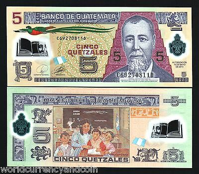 GUATEMALA 5 QUETZAL NEW 2010 POLYMER BIRD CLASS ROOM UNC LATINO MONEY BANK NOTE
