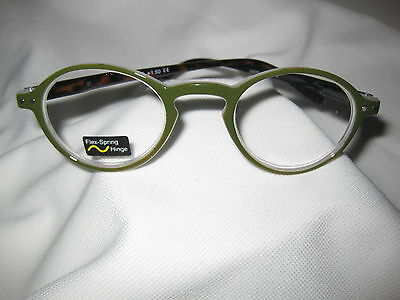 OLIVER ROUND Retro COTTAGE GREEN with Spring Temple Reading Glasses +1.25