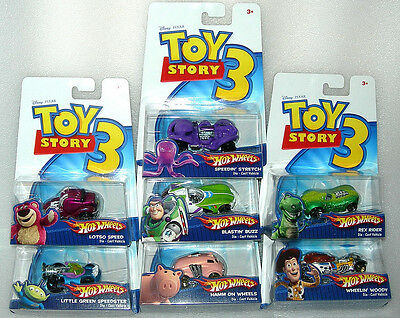 Hot Wheels Toy Story 3 Diecast Character Cars - Asst - Buzz, Woody, Lotso - BNIP